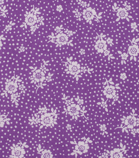 1930\u0027s Cotton Fabric 43\u0022-Dot Floral Bouquet Purple