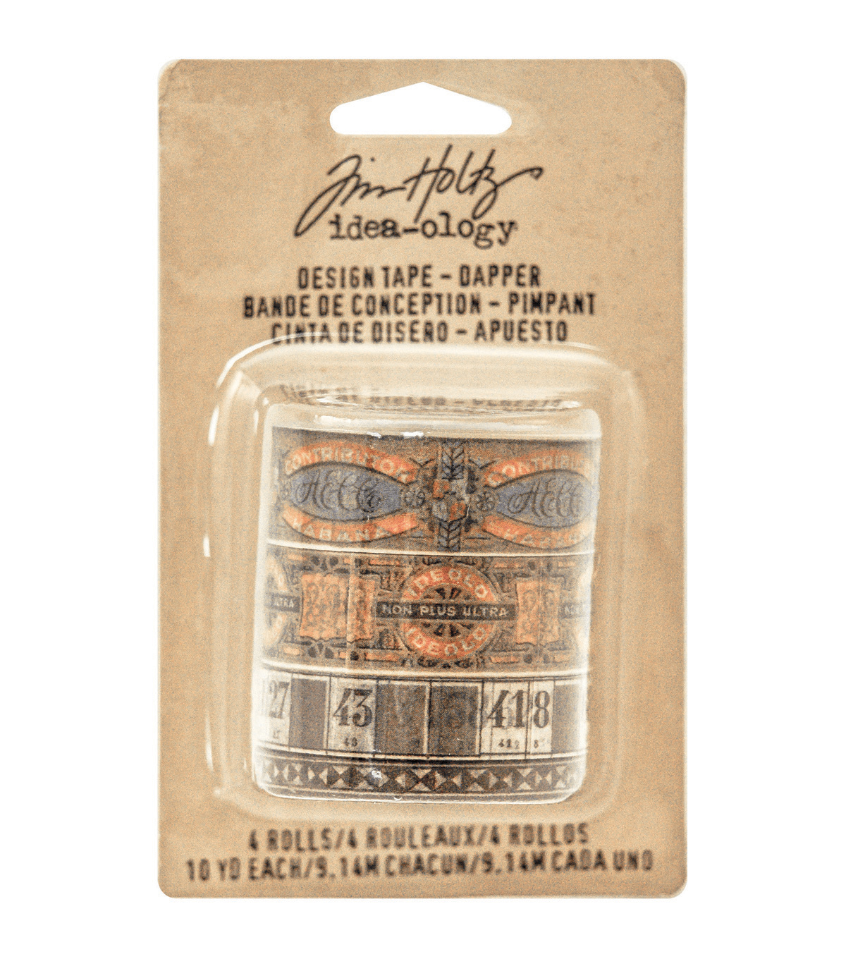 Tim Holtz Idea-Ology Design Tape 10yd 4/Pkg-Dapper