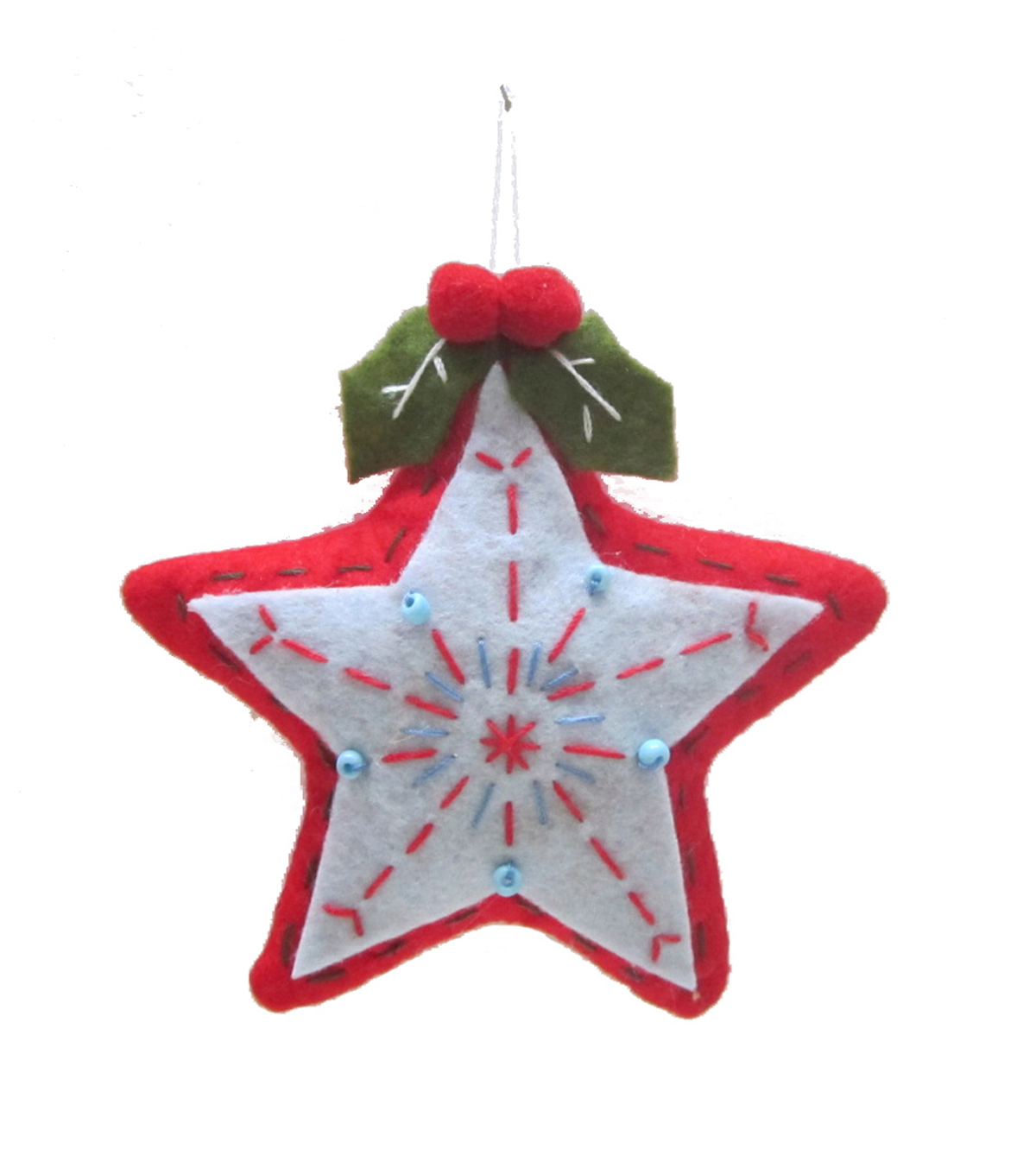 Maker\u0027s Holiday Christmas Handmade Holiday Star Ornament-Red & White