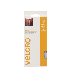 VELCRO® Brand  Iron On 5ft x 3/4in tape. white.