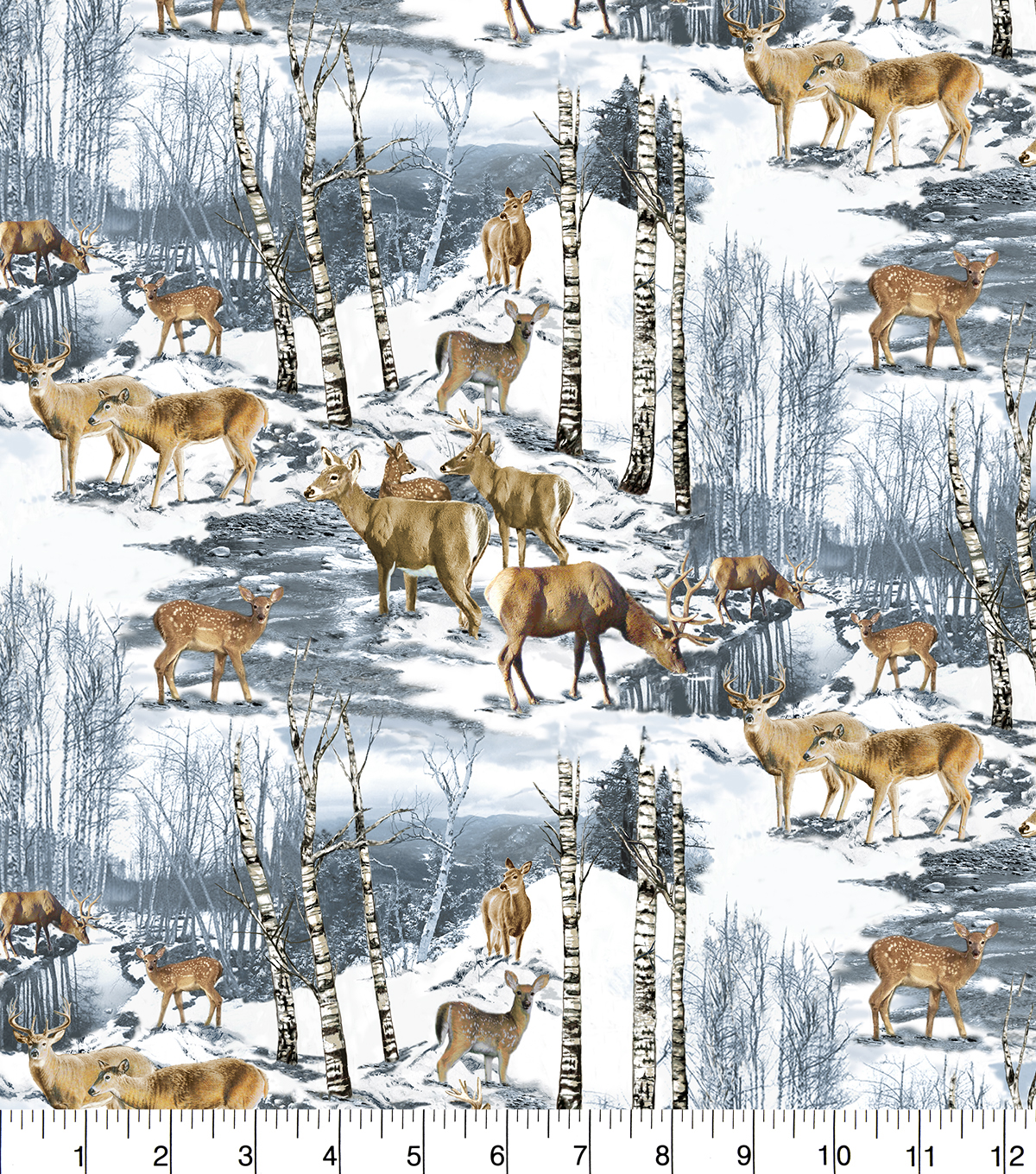 Snuggle Flannel Fabric 42\u0027\u0027-Wintertime Deer