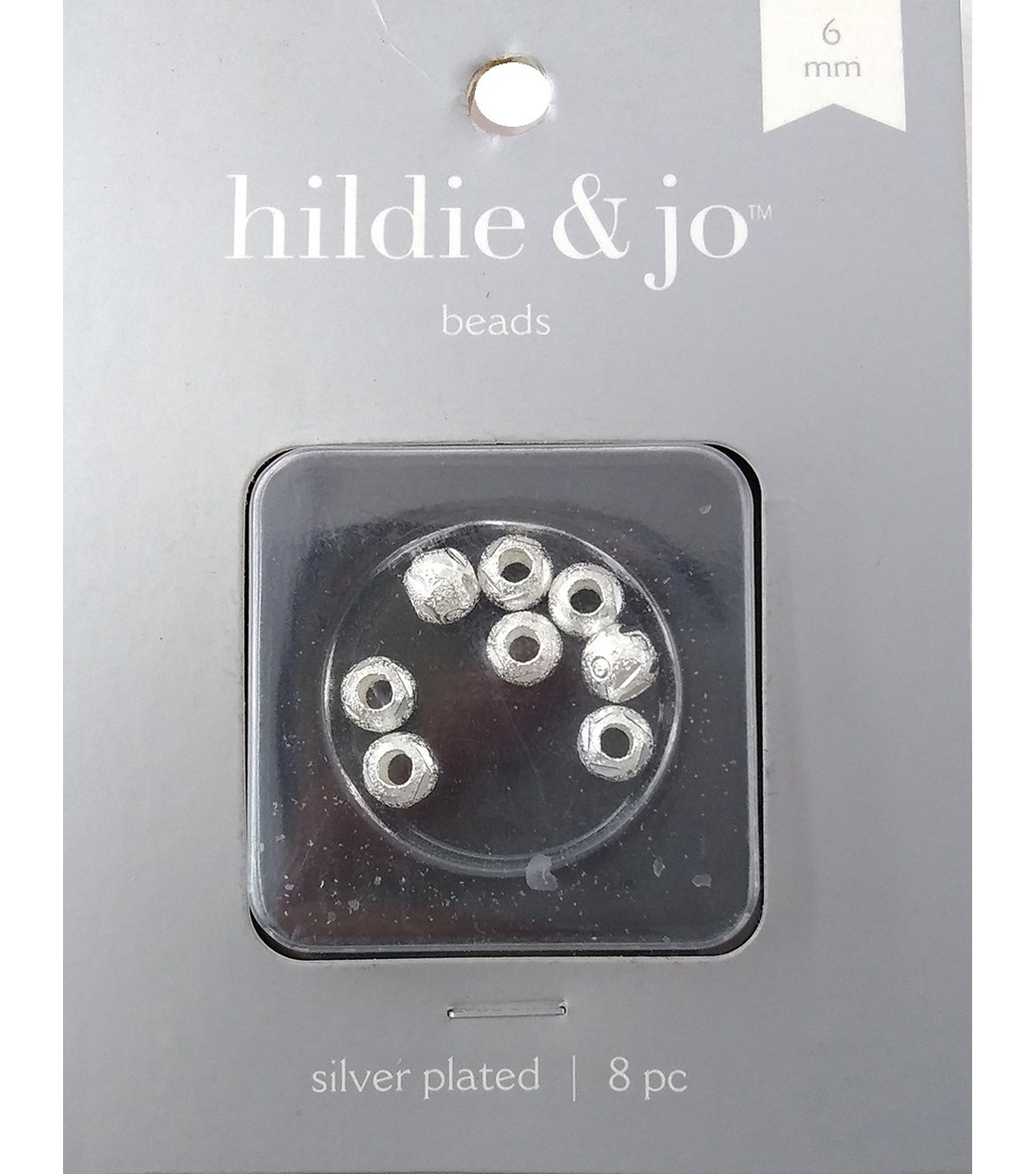 Silver Plated Metal Findings-6mm Carved Bead 8/Pkg