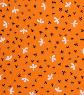 1930\u0027s Cotton Fabric 43\u0027\u0027-Tossed Leaves on Orange