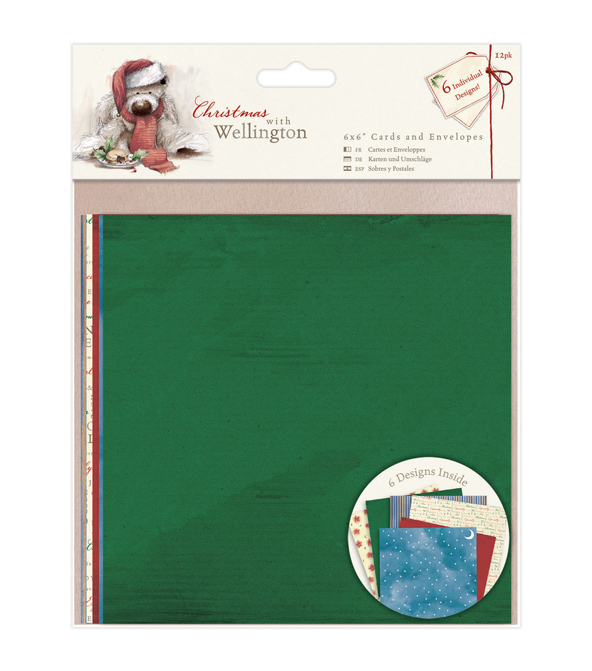 Docrafts Christmas With Wellington 6\u0027\u0027x6\u0027\u0027 Cards & Envelopes