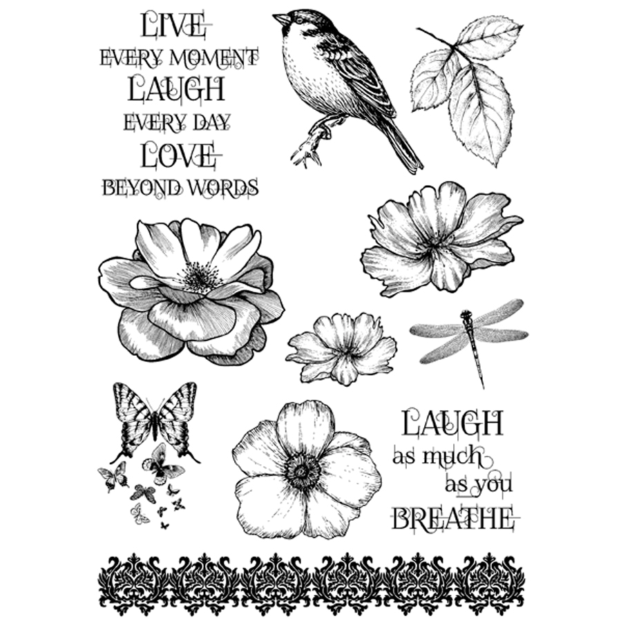 IndigoBlu Cling Mounted Stamp Live Laugh Love