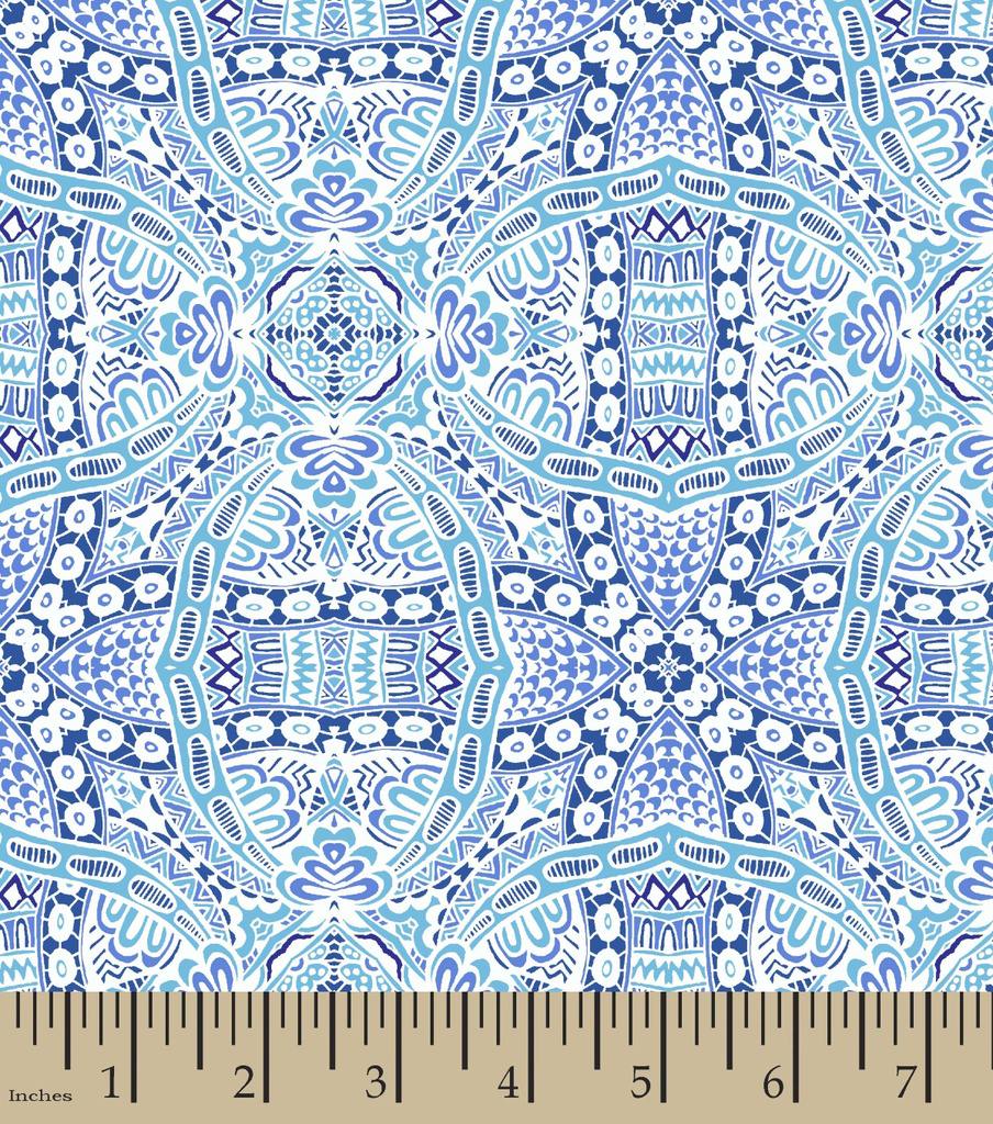 Snuggle Flannel Print Fabric 42\u0022-Charmeine Medallion Blue
