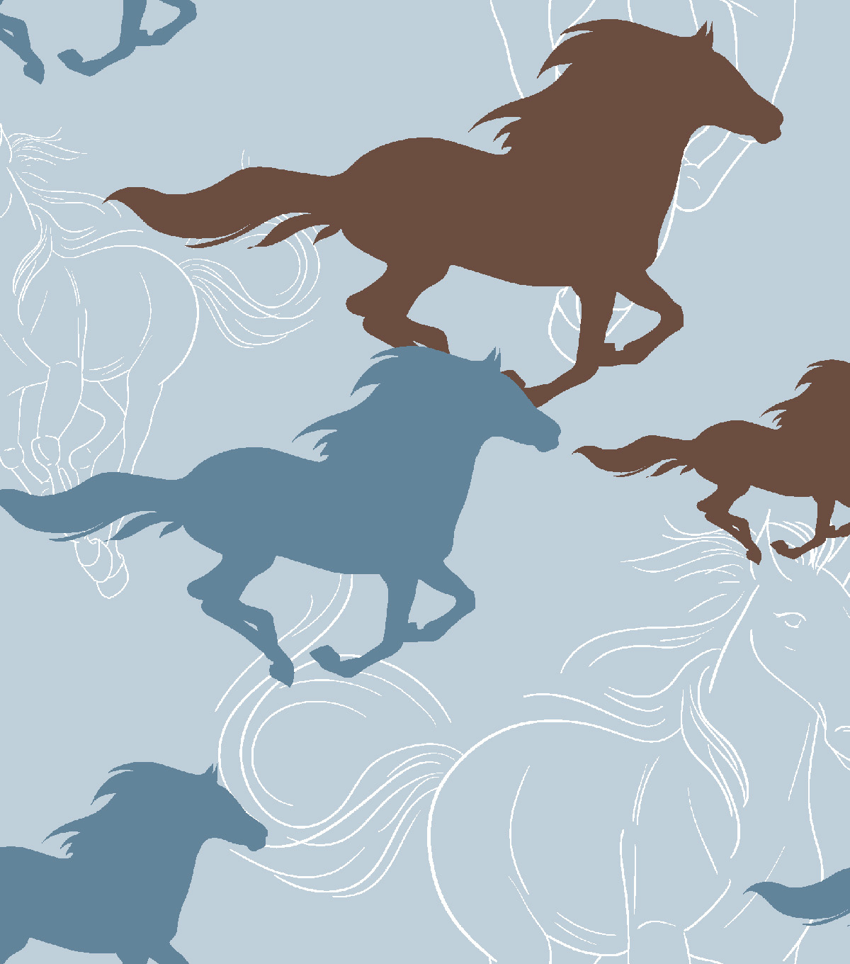 Snuggle Flannel Fabric 42\u0022-Horses Running Sketch Blue