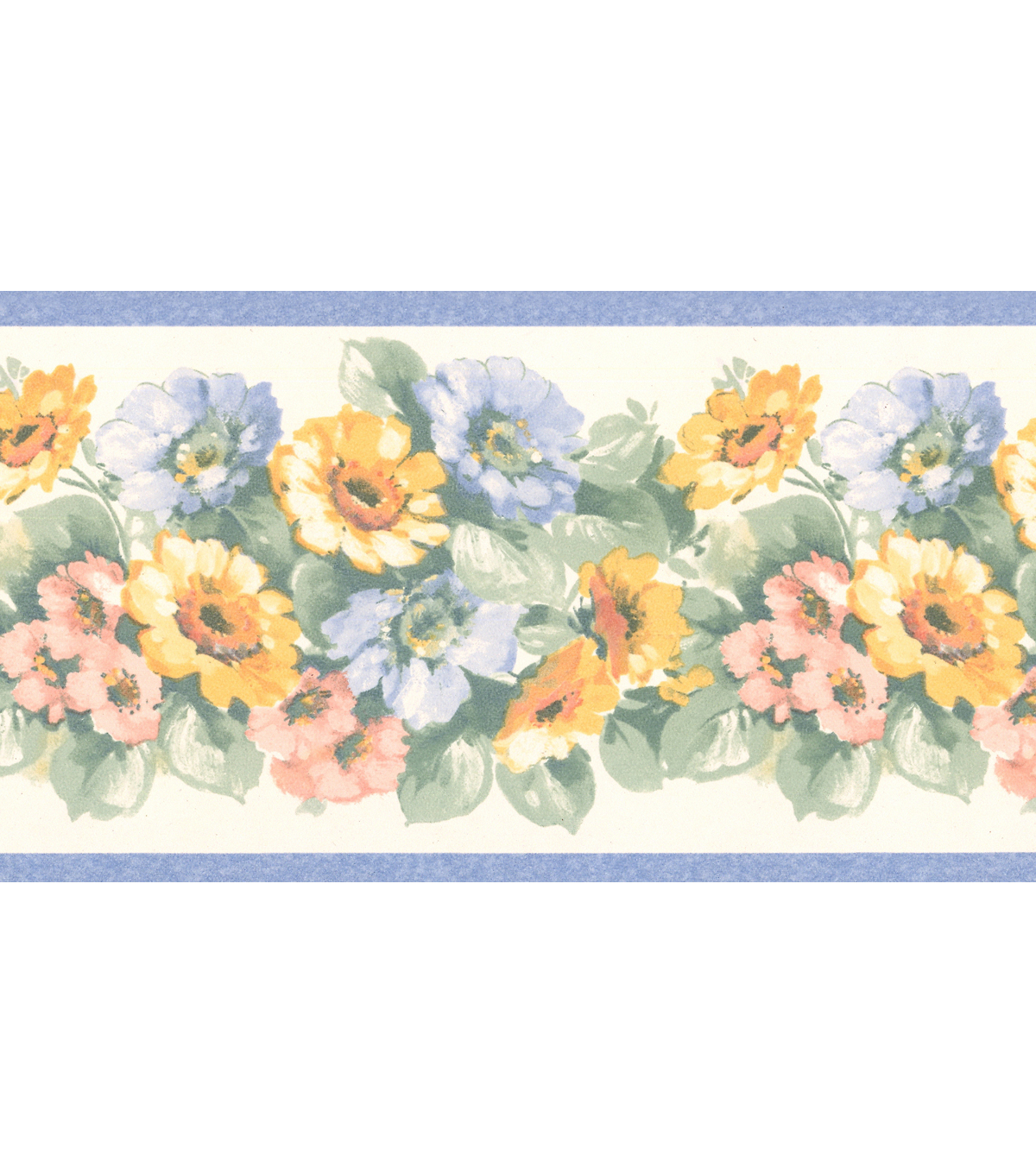 Maryanne Periwinkle Floral Garden Wallpaper Border Sample