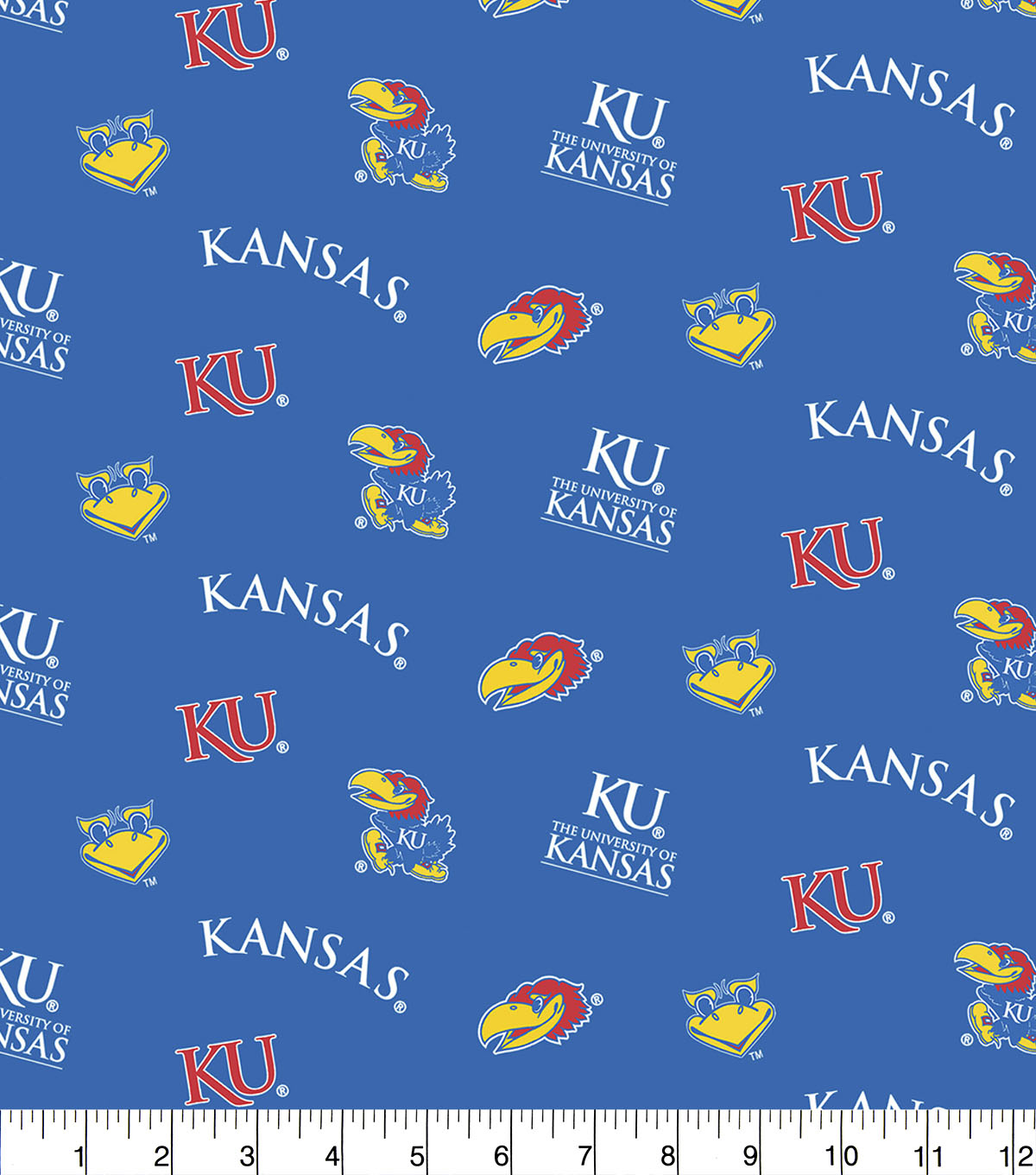 University of Kansas Jayhawks Cotton Fabric 44\u0022-Blue All Over