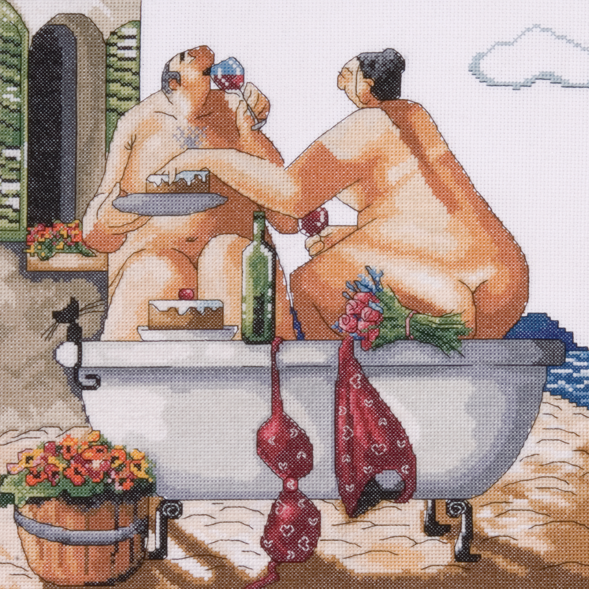 "Bathing Beauties Counted Cross Stitch Kit-12""X12"" 14 Count"