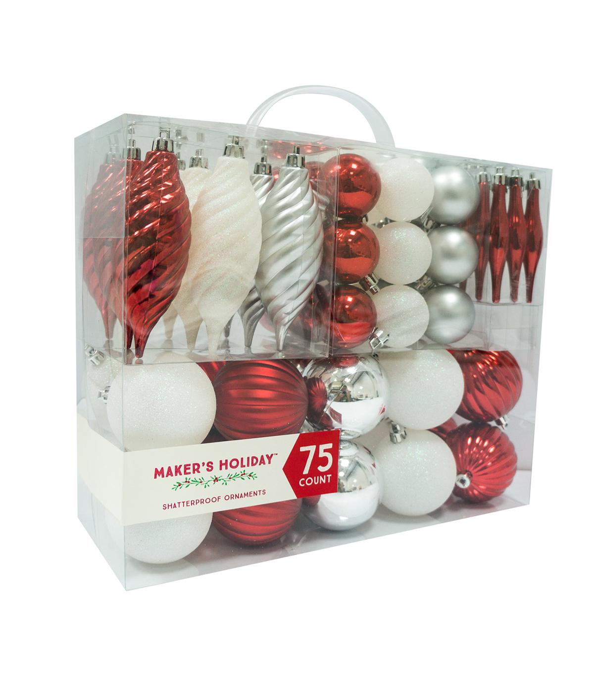 Shatterproof christmas ornaments red silver white joann - Red silver and white christmas decorations ...