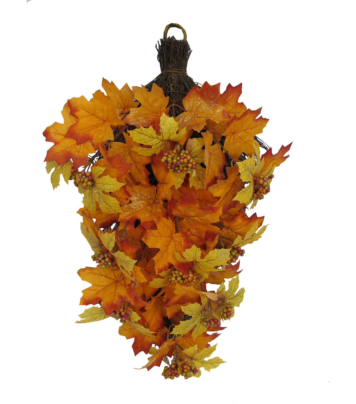 Blooming Autumn 26'' Maple Leaves & Berry Teardrop-Orange & Yellow