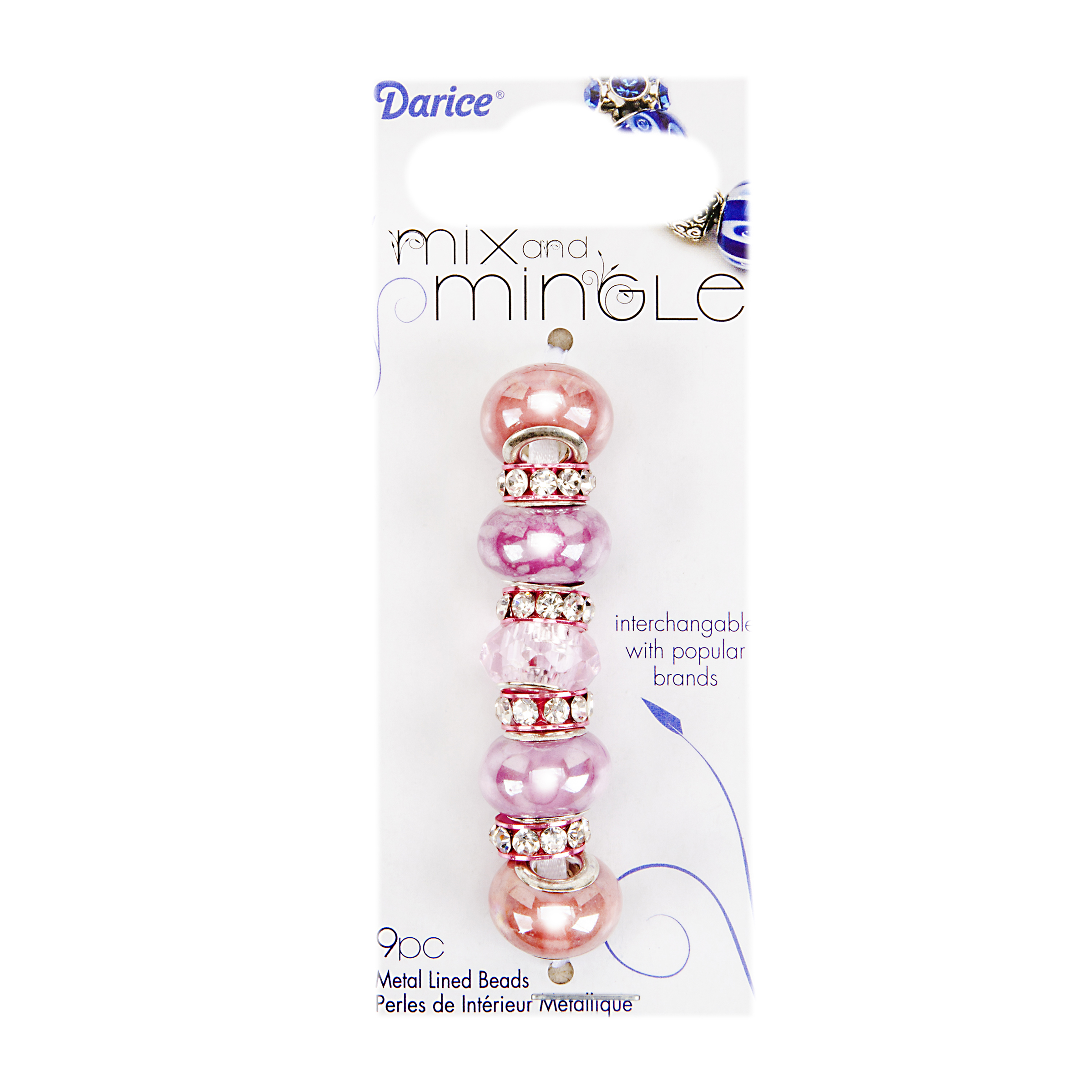 Mix and Mingle Pearlized Pink/Lavender Beads - Rhinest. Rim Spacers, 9pc