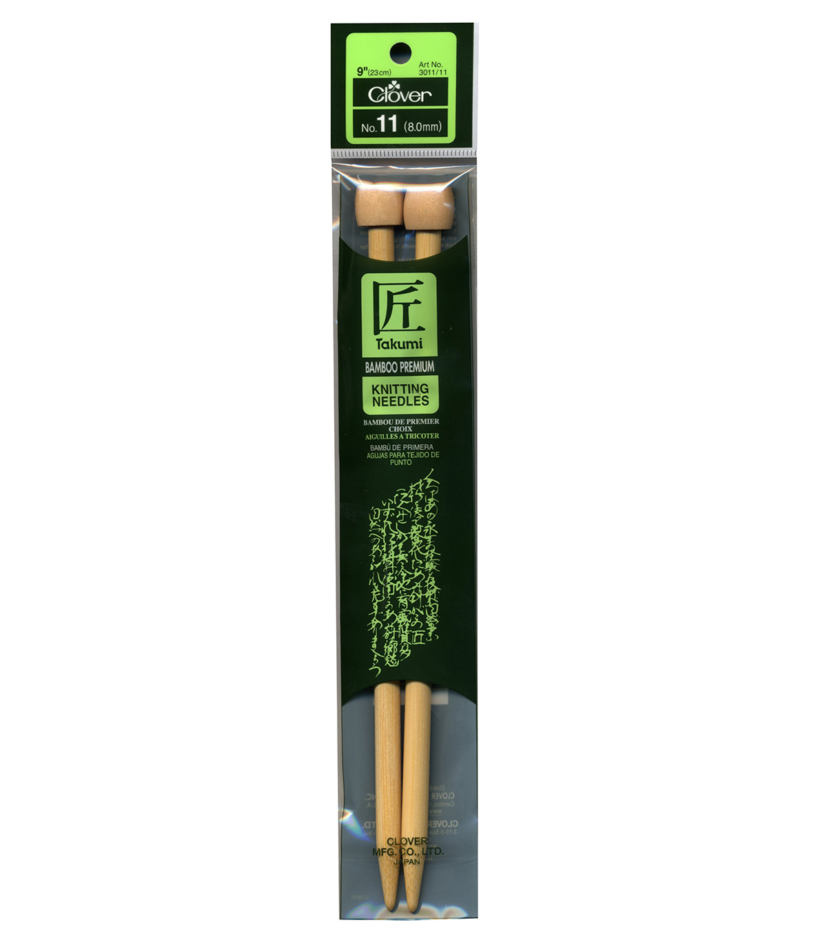 Clover Bamboo Single Point Knitting Needles 9\u0022-Size 11