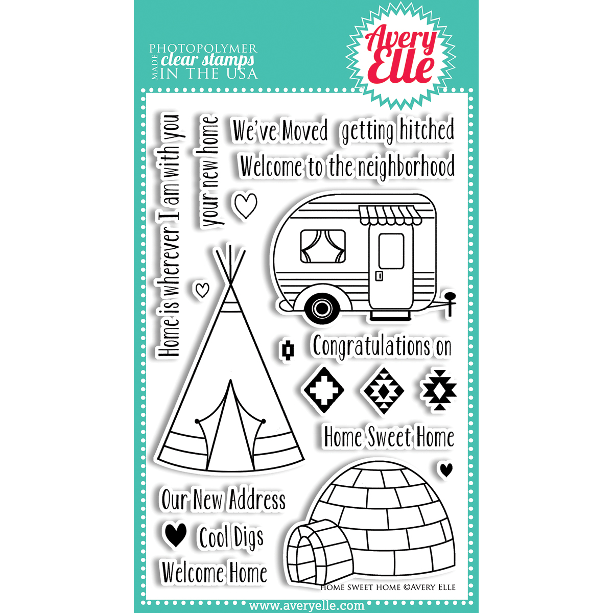 Avery Elle Clear Stamp Set Home Sweet Home