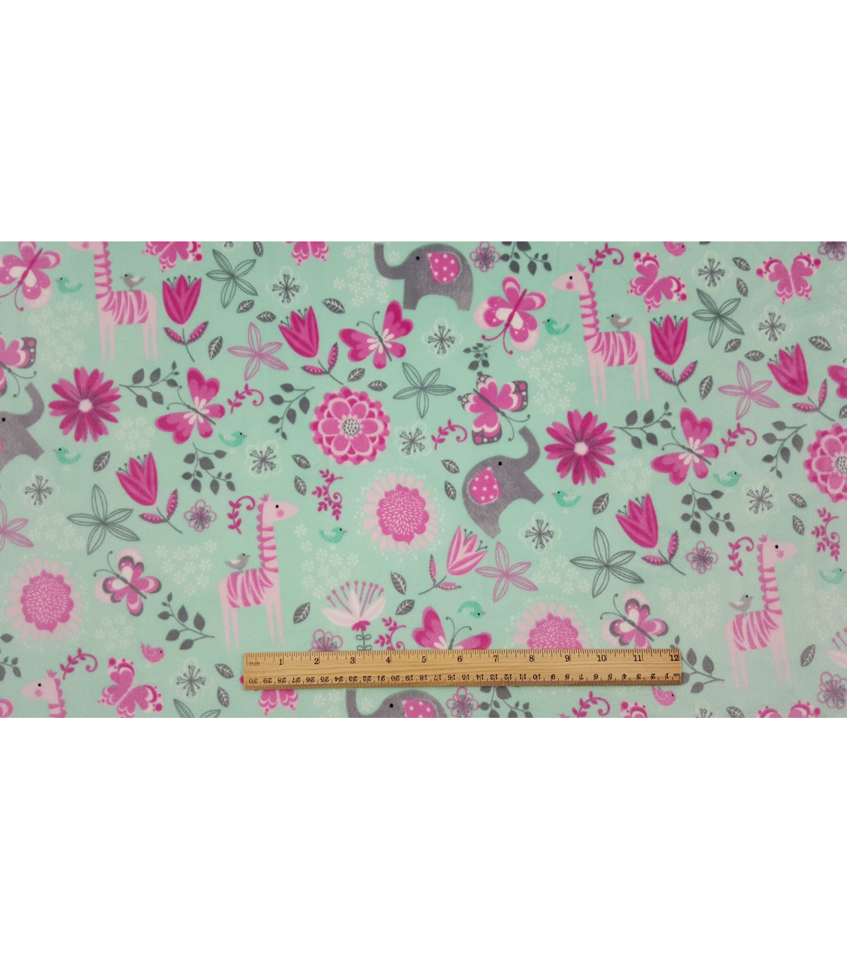 Nursery Flannel Fabric 57\u0022-Tossed Zoo Flower