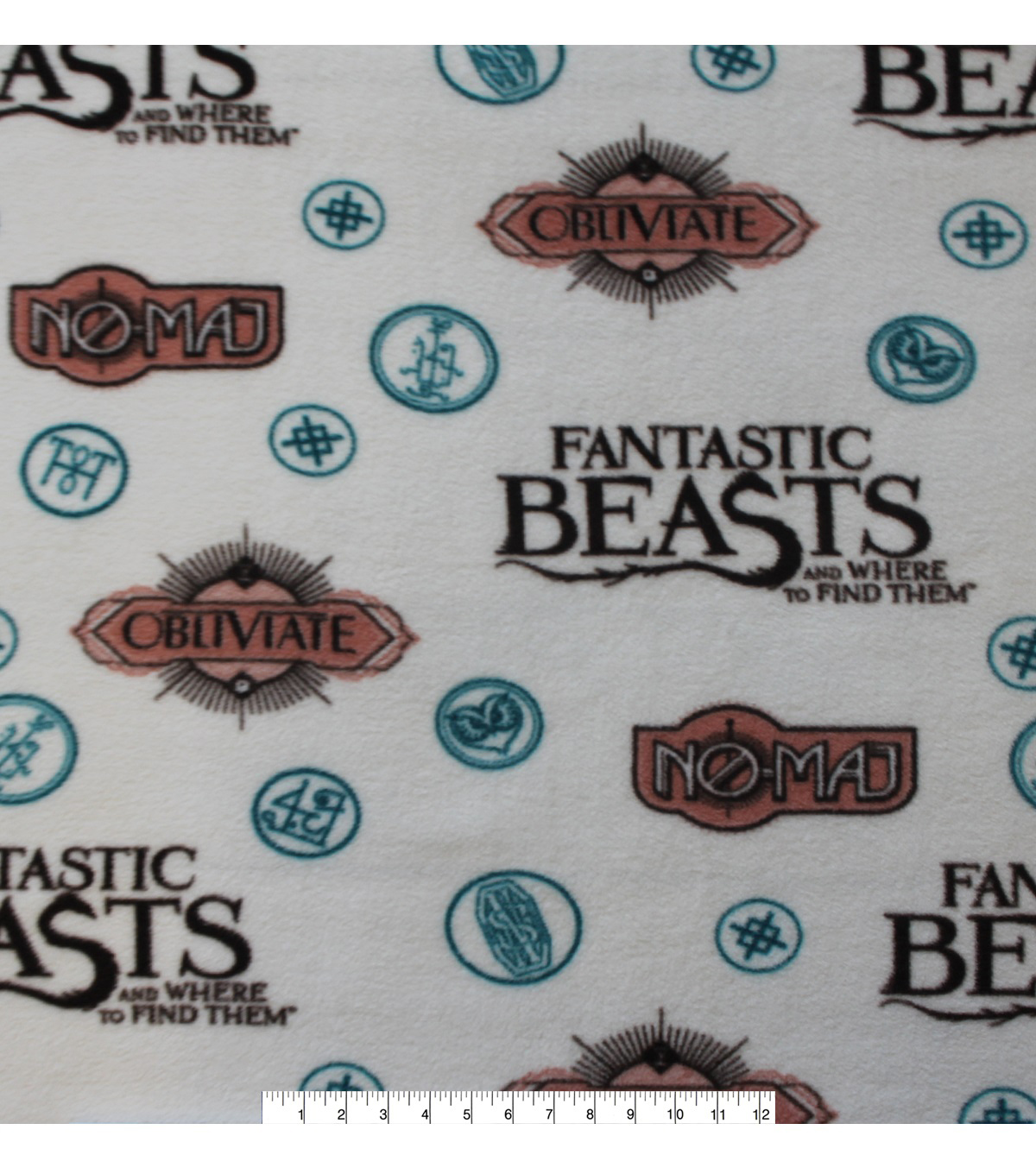 Fantastic Beasts Fleece Fabric 58\u0027\u0027-Sayings & Symbols