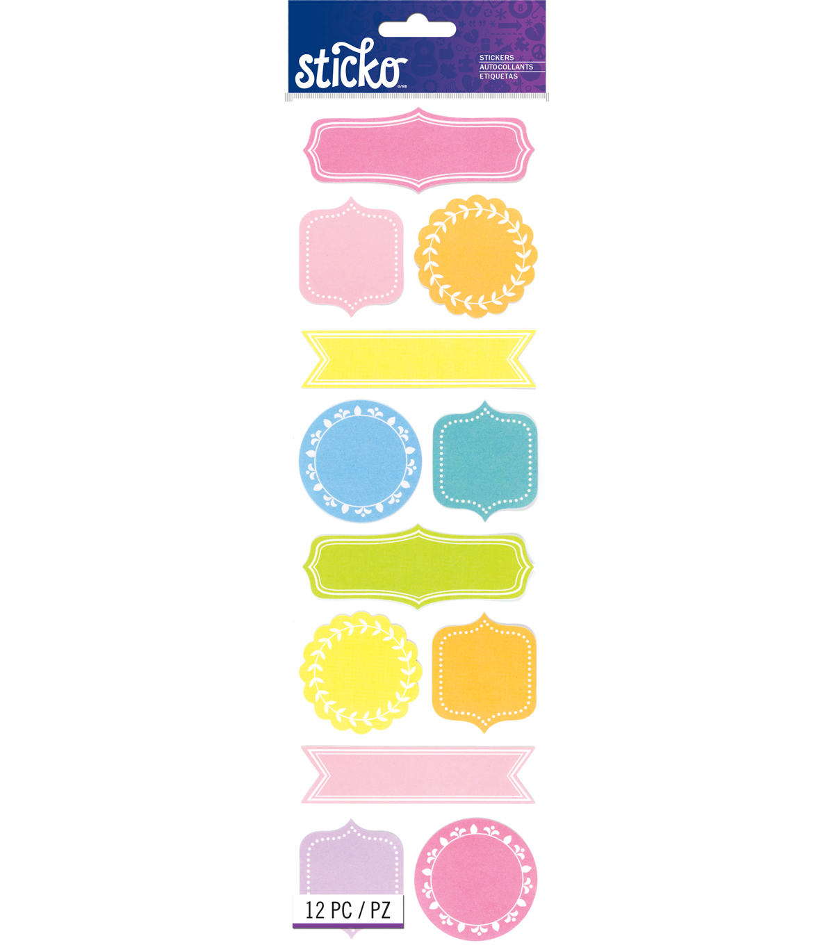 Sticko® 12 Pack Frame Label Stickers-Pastel