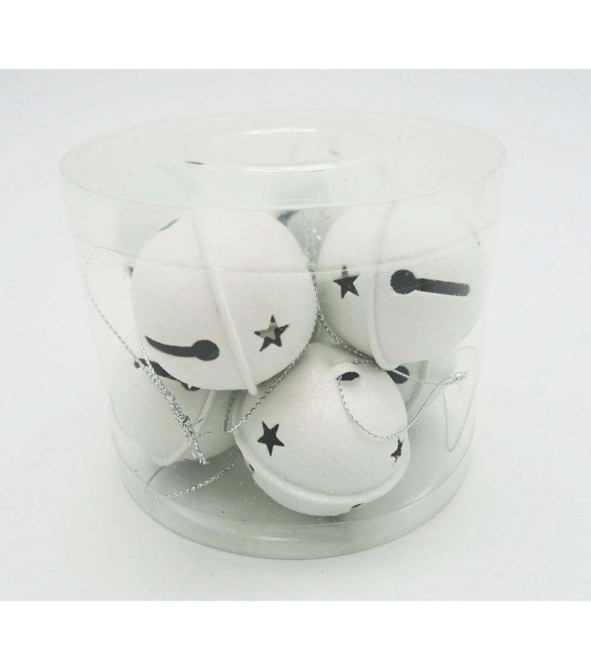 Maker\u0027s Holiday 8ct Large Jingle Bells-White Glitter