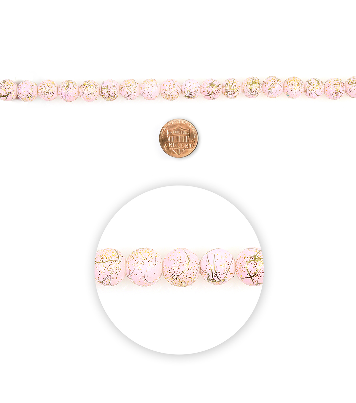 Blue Moon Beads 7\u0022 Strand Glass Bead 10mm Glitter Pink Gold