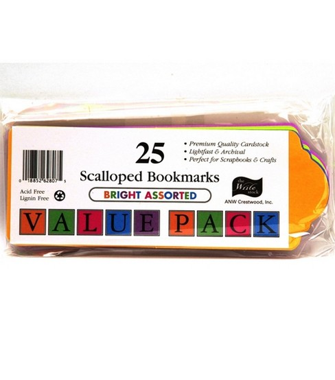 Value Pack Scalloped Bookmarks-Bright Colors 25 pk.