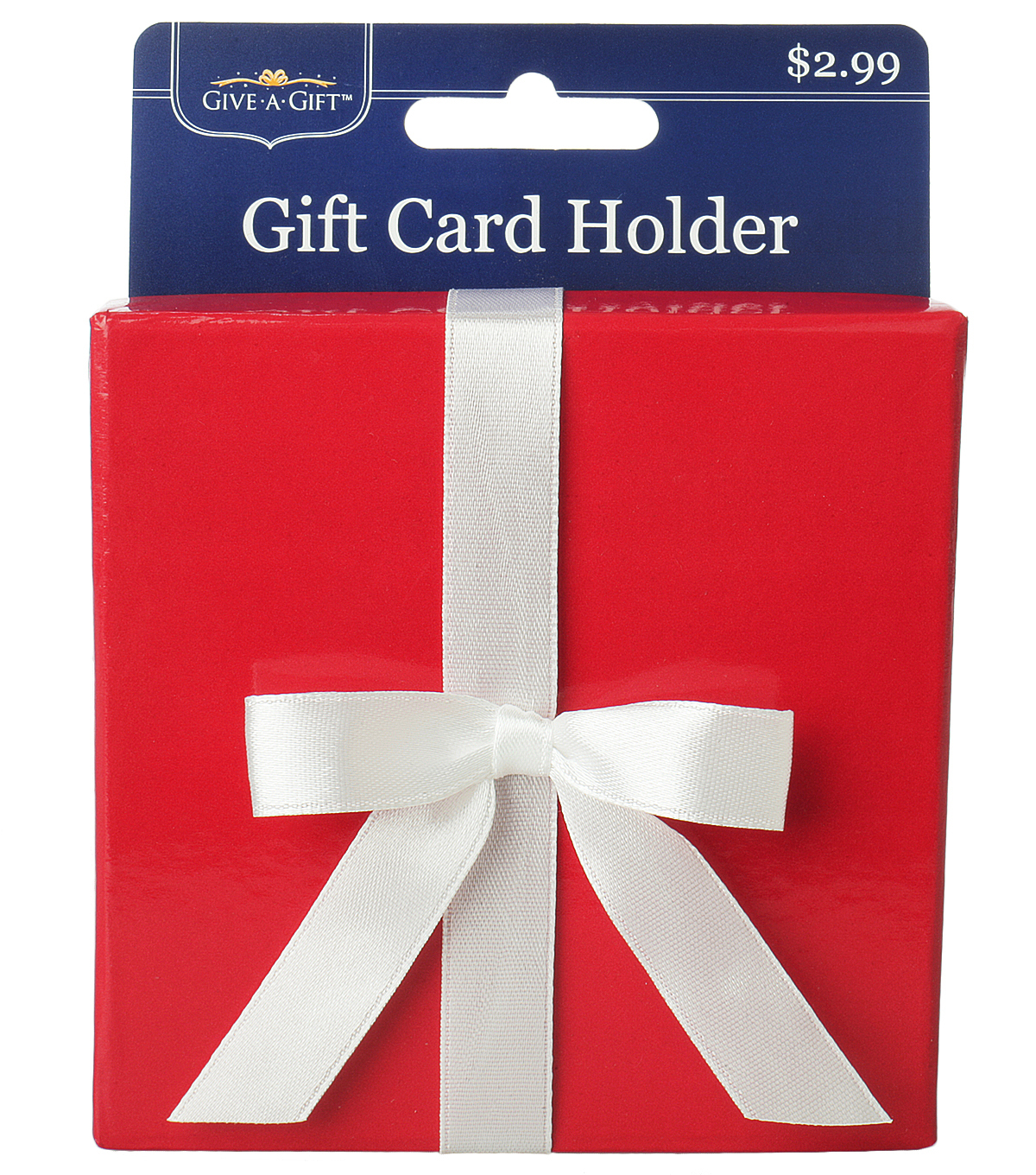 Red Paper Box With White Bow Gift Card Holder
