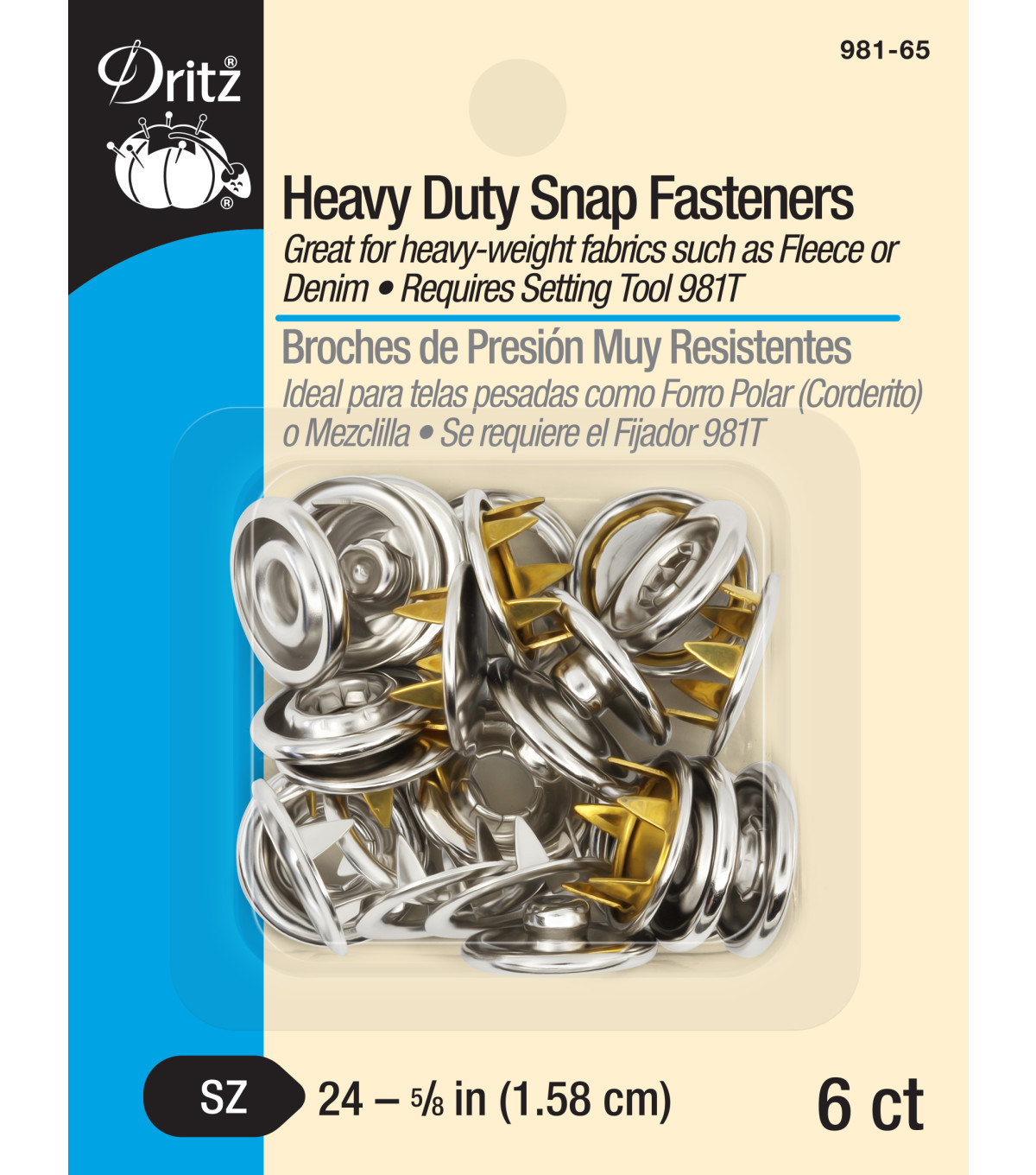 Dritz 0.63\u0022 Heavy Duty Snap Fasteners 6pcs Size 24 Nickel