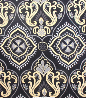 No Sew Fleece Throw 72\u0022-Black Yellow Damask