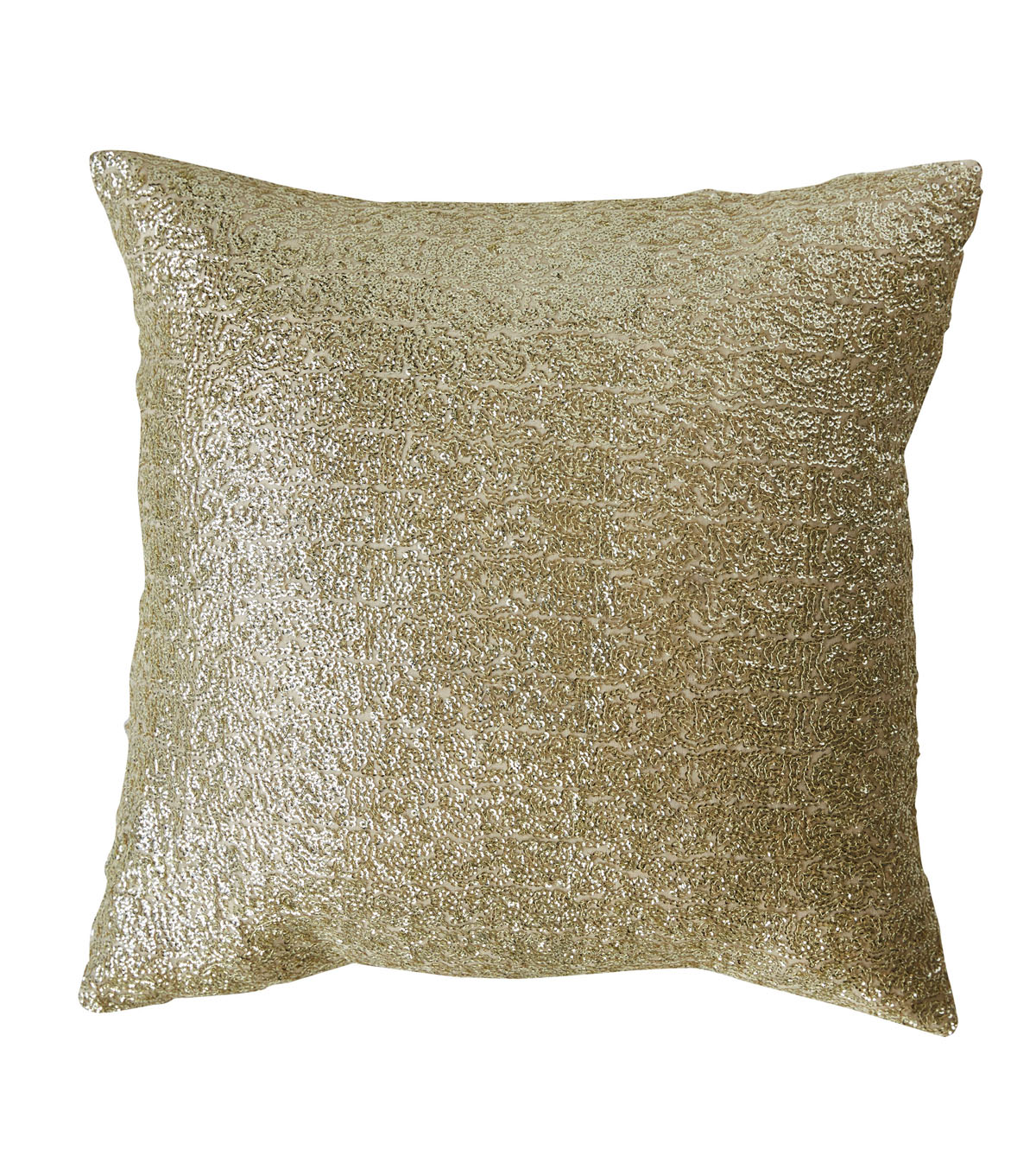 3R Studios Christmas Square Fabric Sequined Pillow-Gold