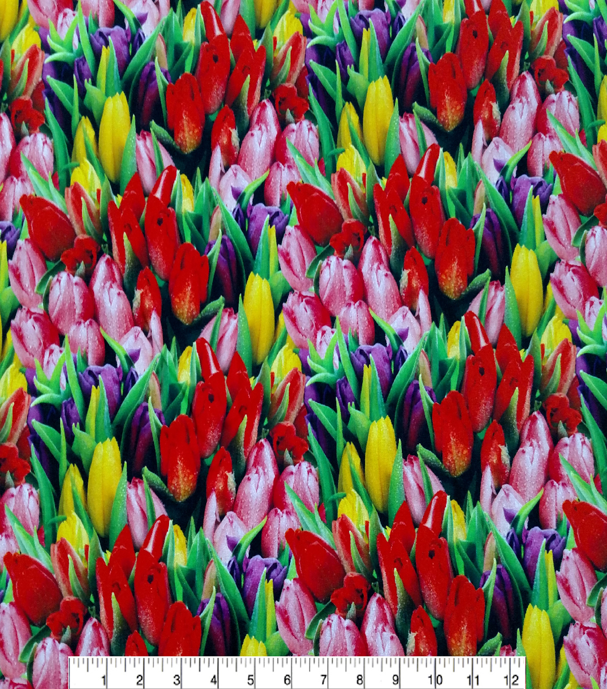 Easter Cotton Fabric 44\u0022-Photo Real Tulips