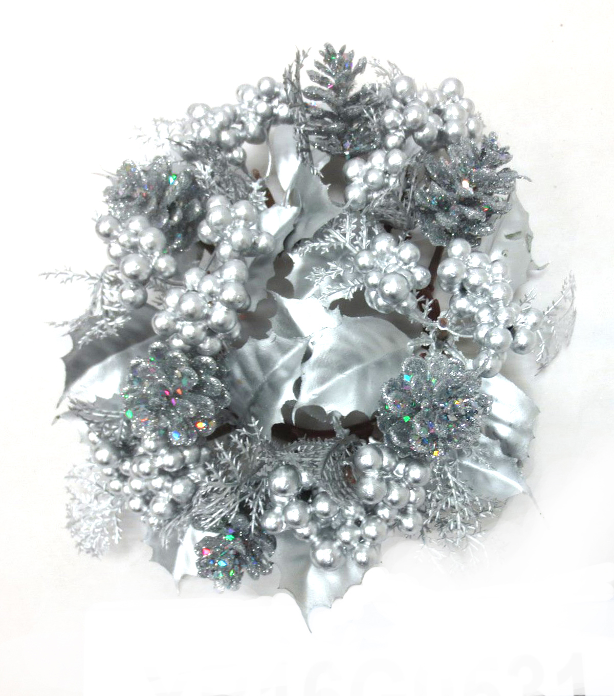 Blooming Holiday Berry Mini Wreath-Silver