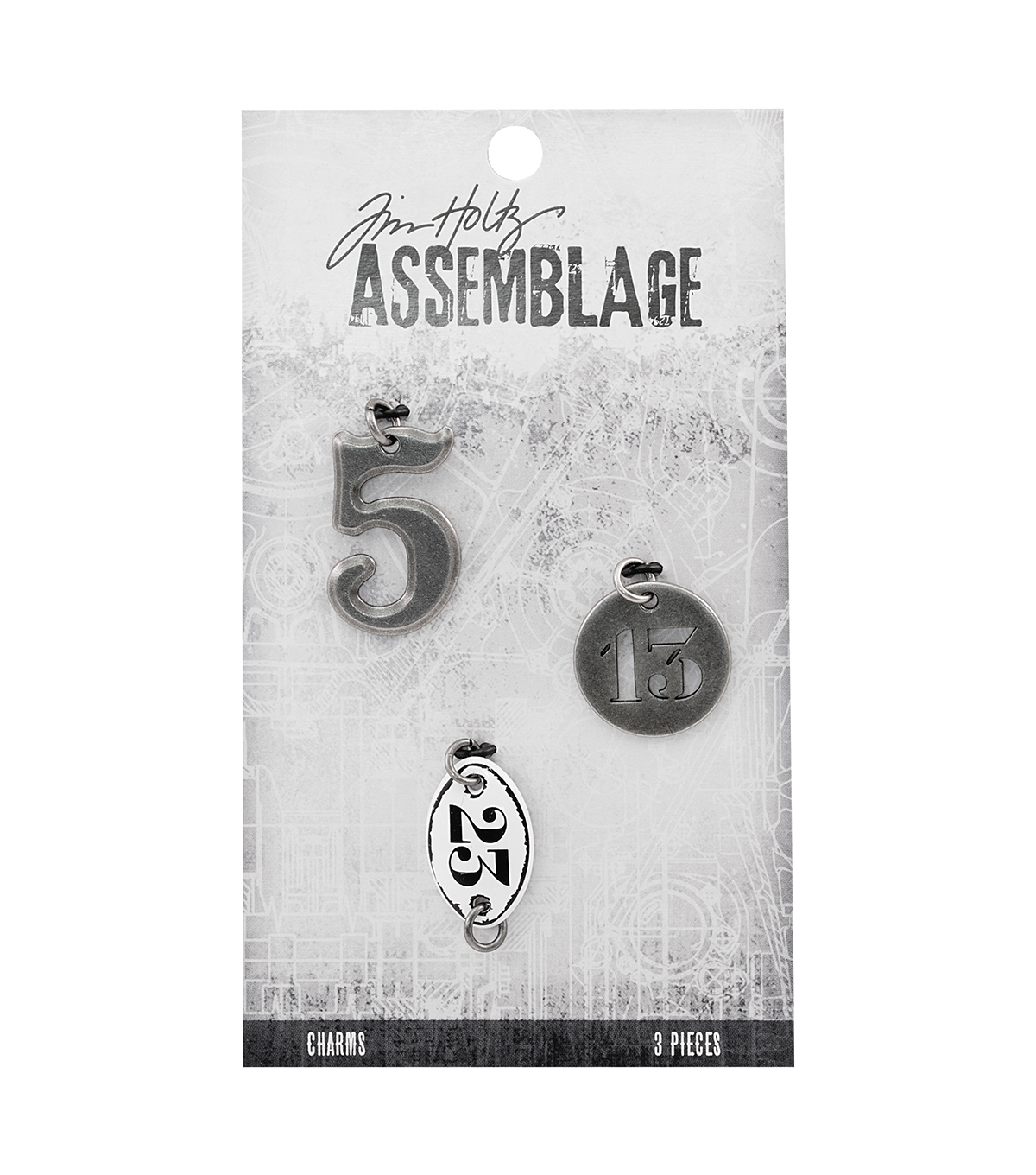 Tim Holtz Assemblage Pack of 3 Numbers Charms