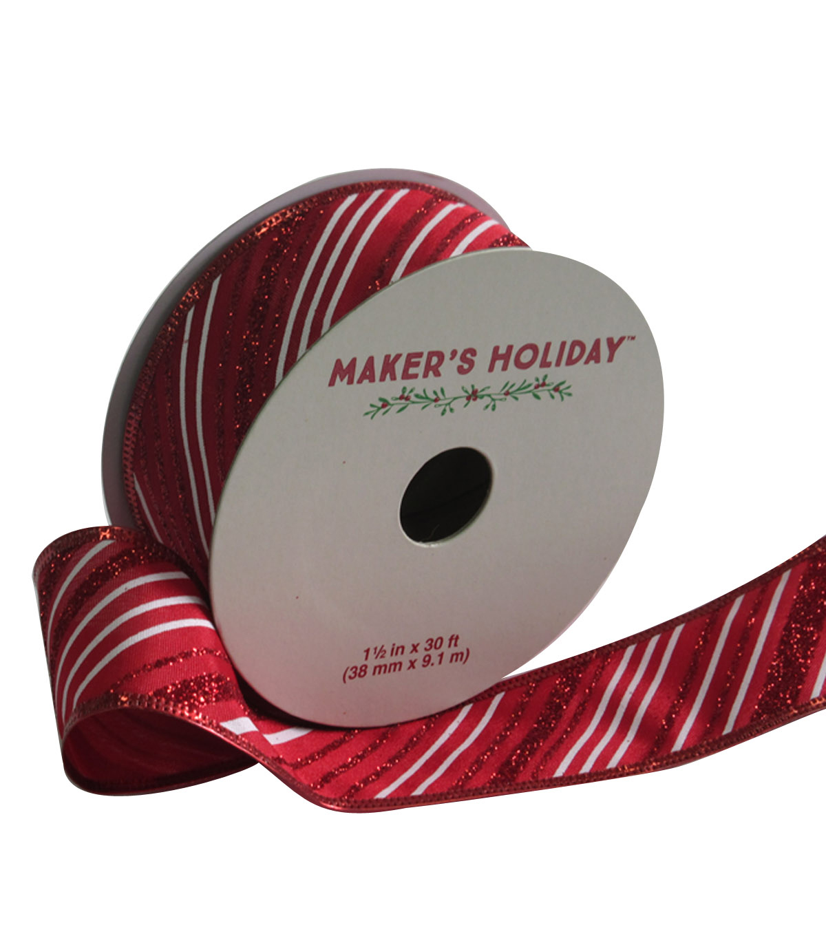 Maker's Holiday Twill Ribbon With Glitter 1.5''x30'-Red & White