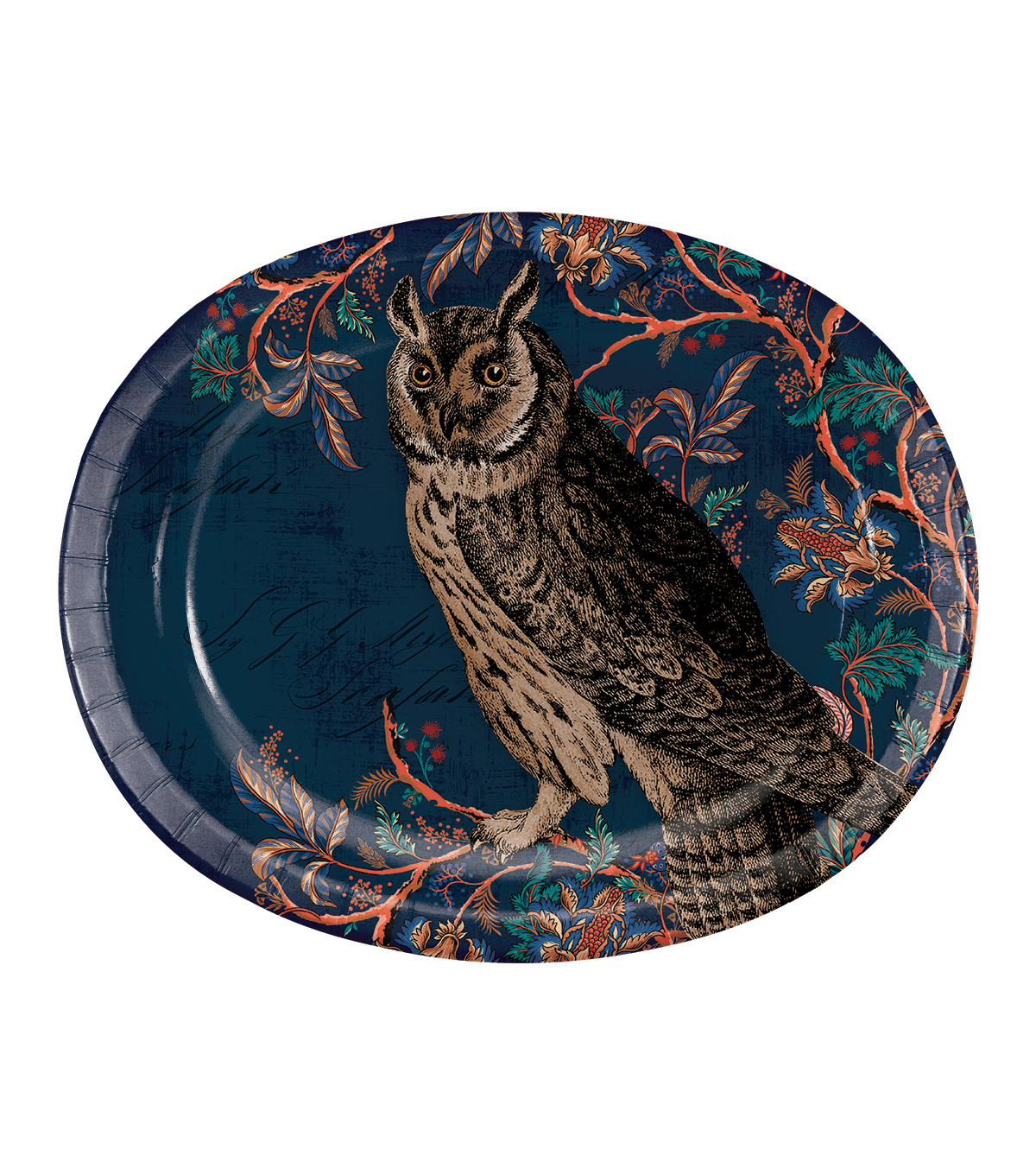 Fall Into Color 8 Pack Paper Oval Platters-Owl