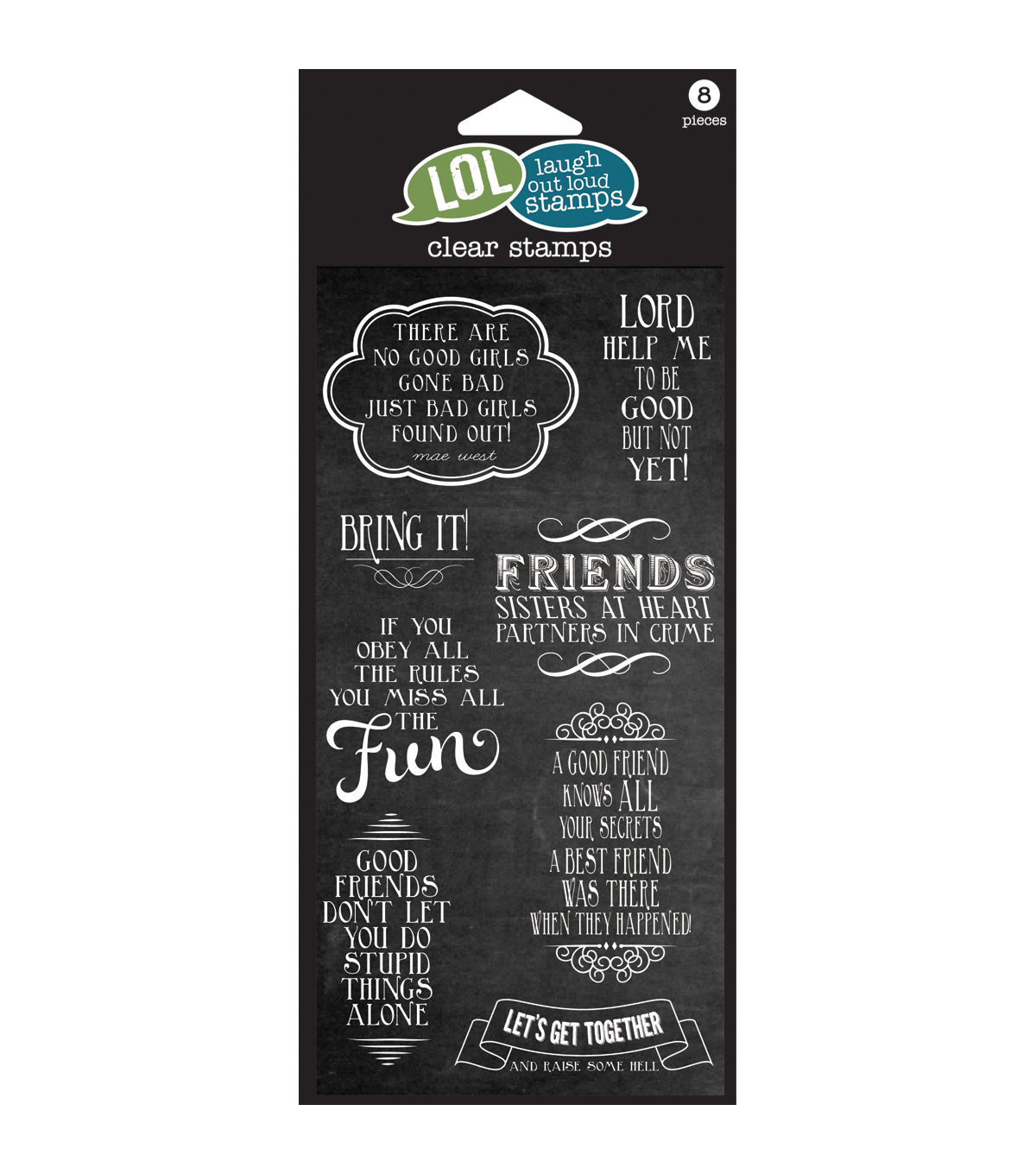Laugh Out Loud Clear Stamps 4\u0022X8\u0022 Sheet- Friends Sisters at Heart