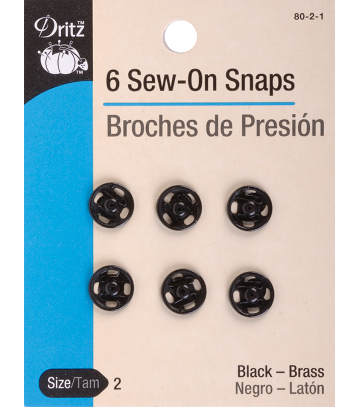 Dritz Sew-On Snaps Black Size 4/0