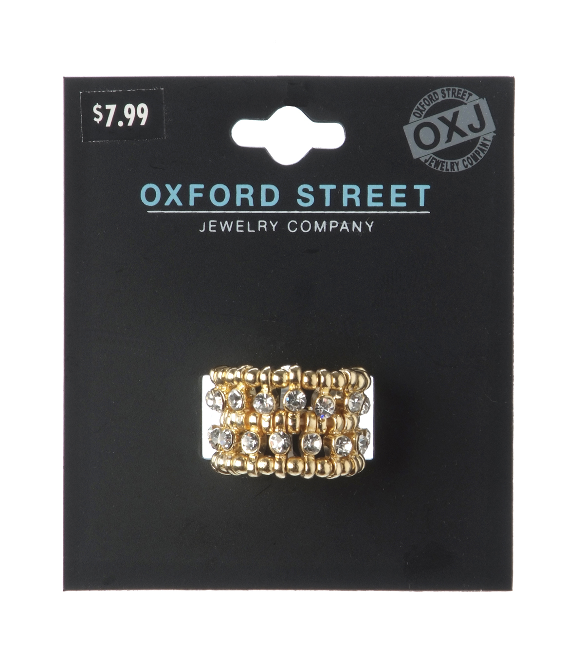 Oxford Street Jewelry Co. Gold Double Row Rhinestone Ring
