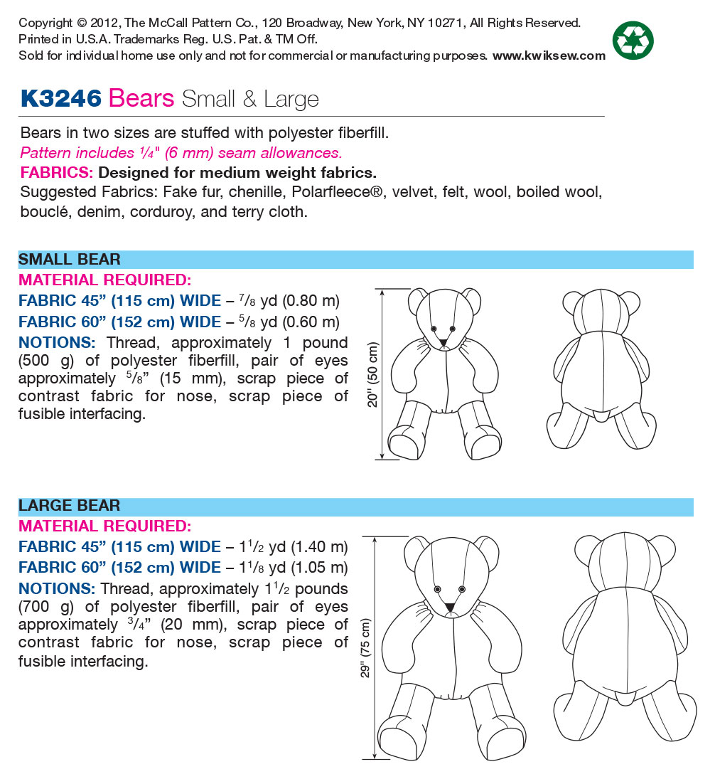 Kwik Sew Crafts Animals-K3246