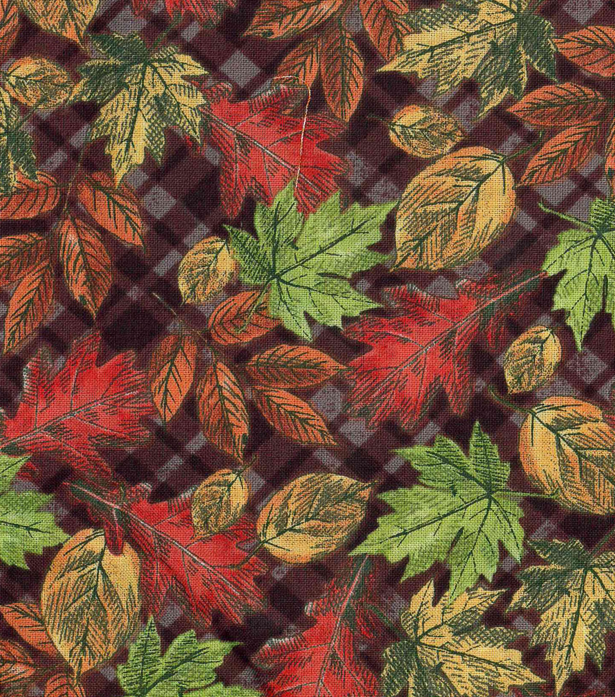 "Harvest Cotton Fabric 43""-Leaves On Plaid"