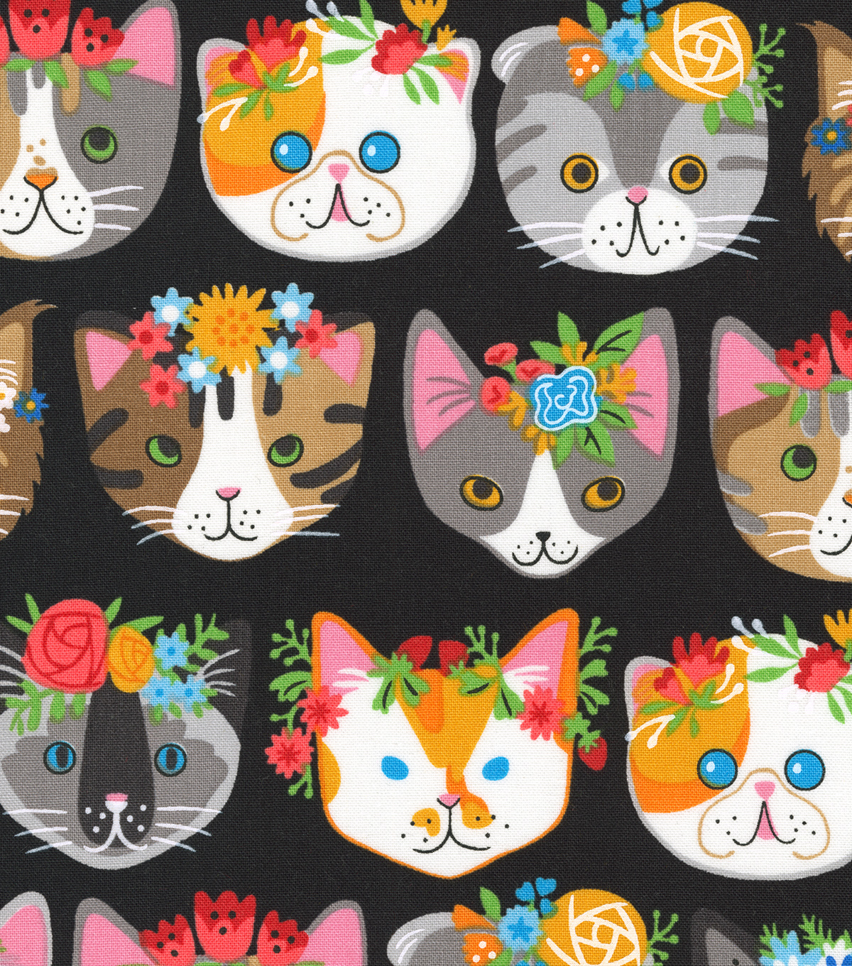 "Novelty Cotton Fabric 44""-Cat Heads On Black"