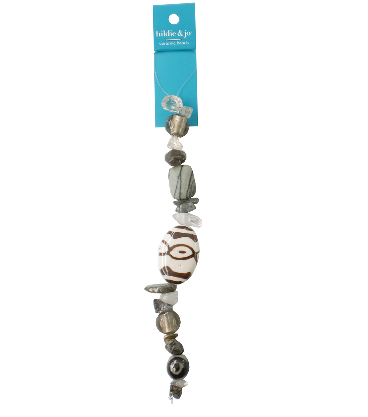 hildie & jo™ 7\u0027\u0027 Ceramic Beads Strand-White, Gray & Brown