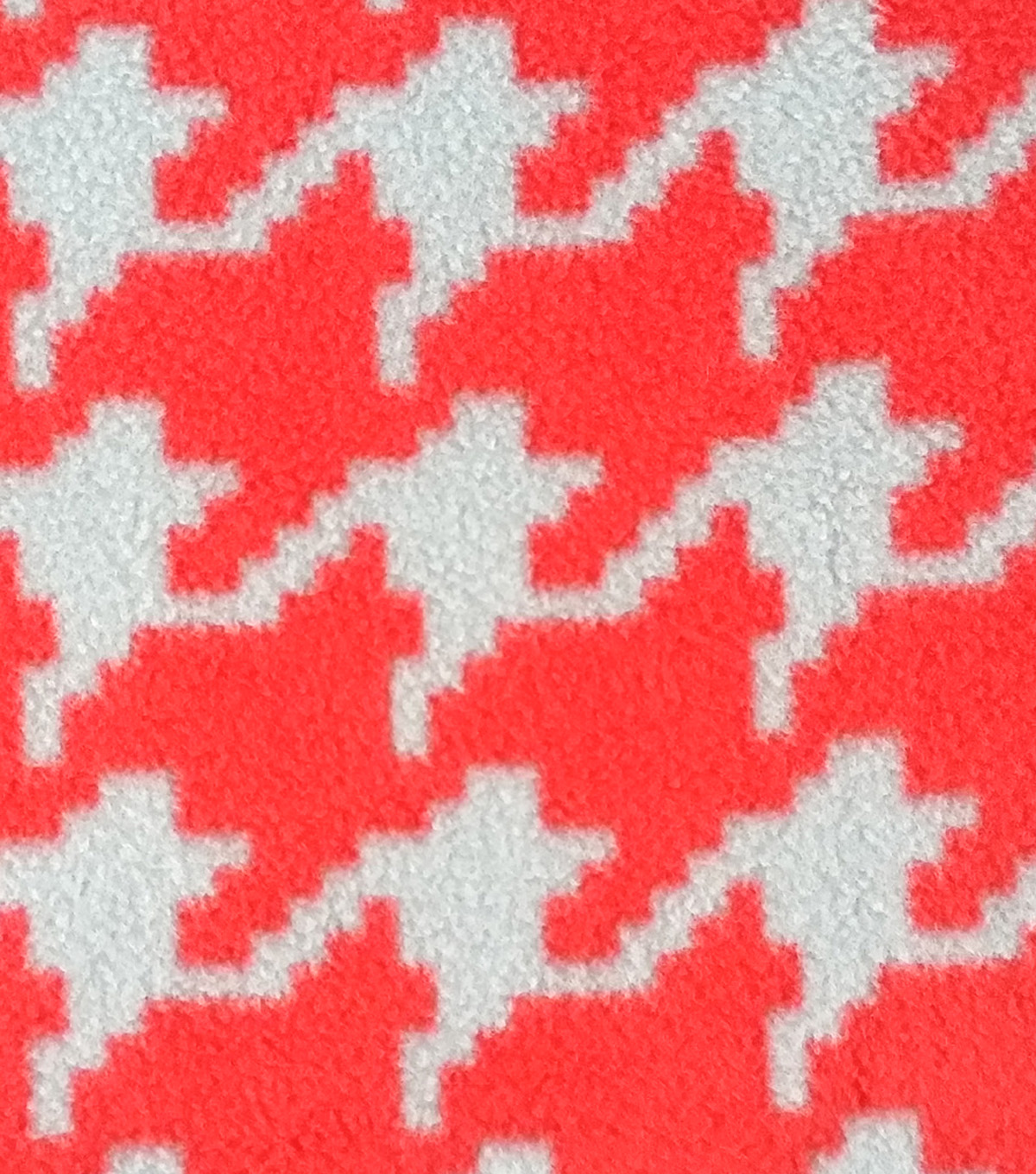 Anti-Pill Fleece Fabric Scarlet And Gray Houndstooth