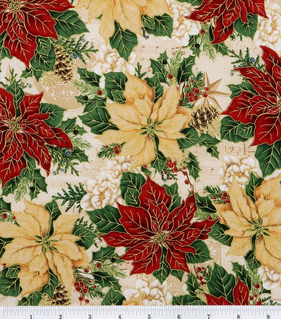 Maker\u0027s Holiday Cotton Fabric 44\u0022-Poinsettias and Music