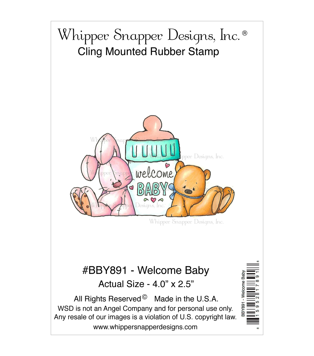 Whipper Snapper Cling Stamps-Welcome Baby