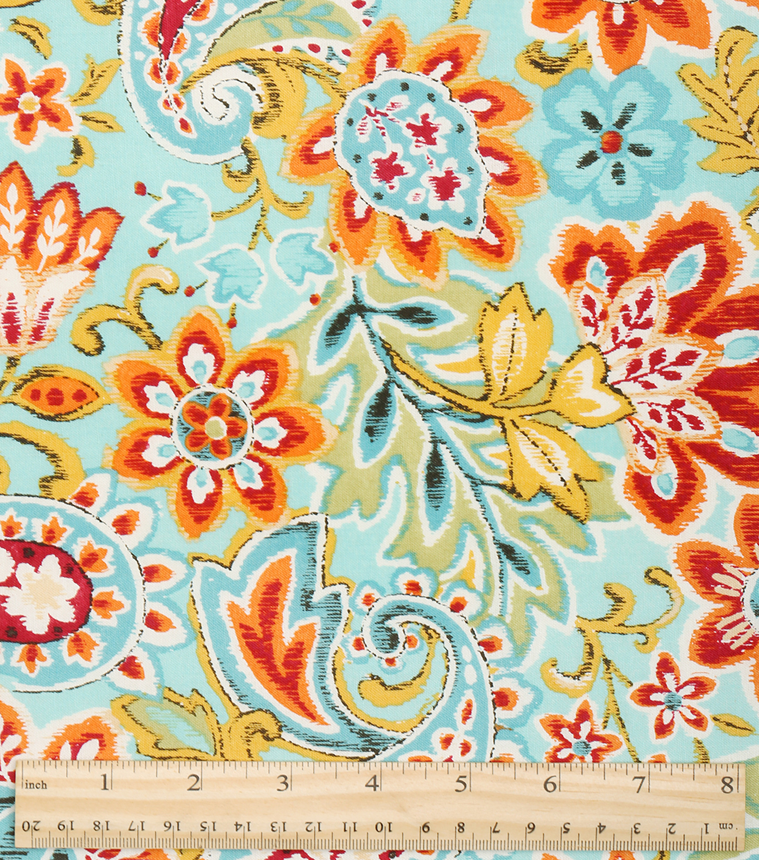 Keepsake Calico Cotton Fabric-Bright Ikat Paisley Floral