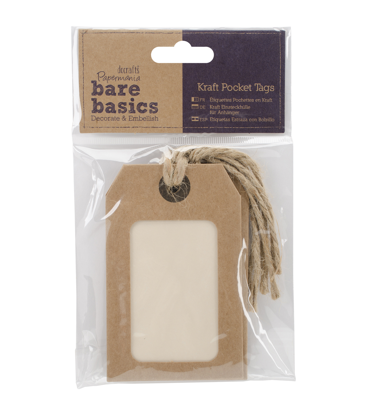 Papermania Bare Basics Natural Kraft Pocket Cardstock Tags With Twine