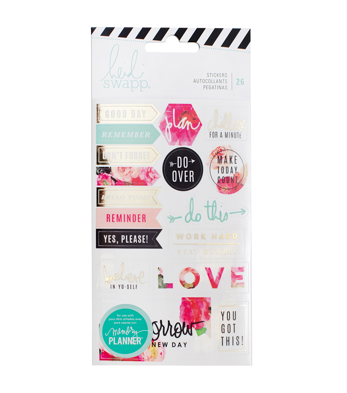 Heidi Swapp Memory Planner Pack of 26 Stickers-Floral