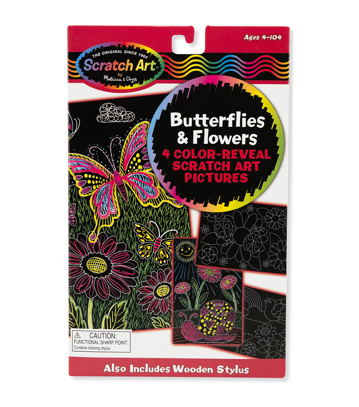 "Melissa & Doug Scratch Art Color Reveal Pictures 6""X10"" 4/Pkg-Butterflies & Flowers"