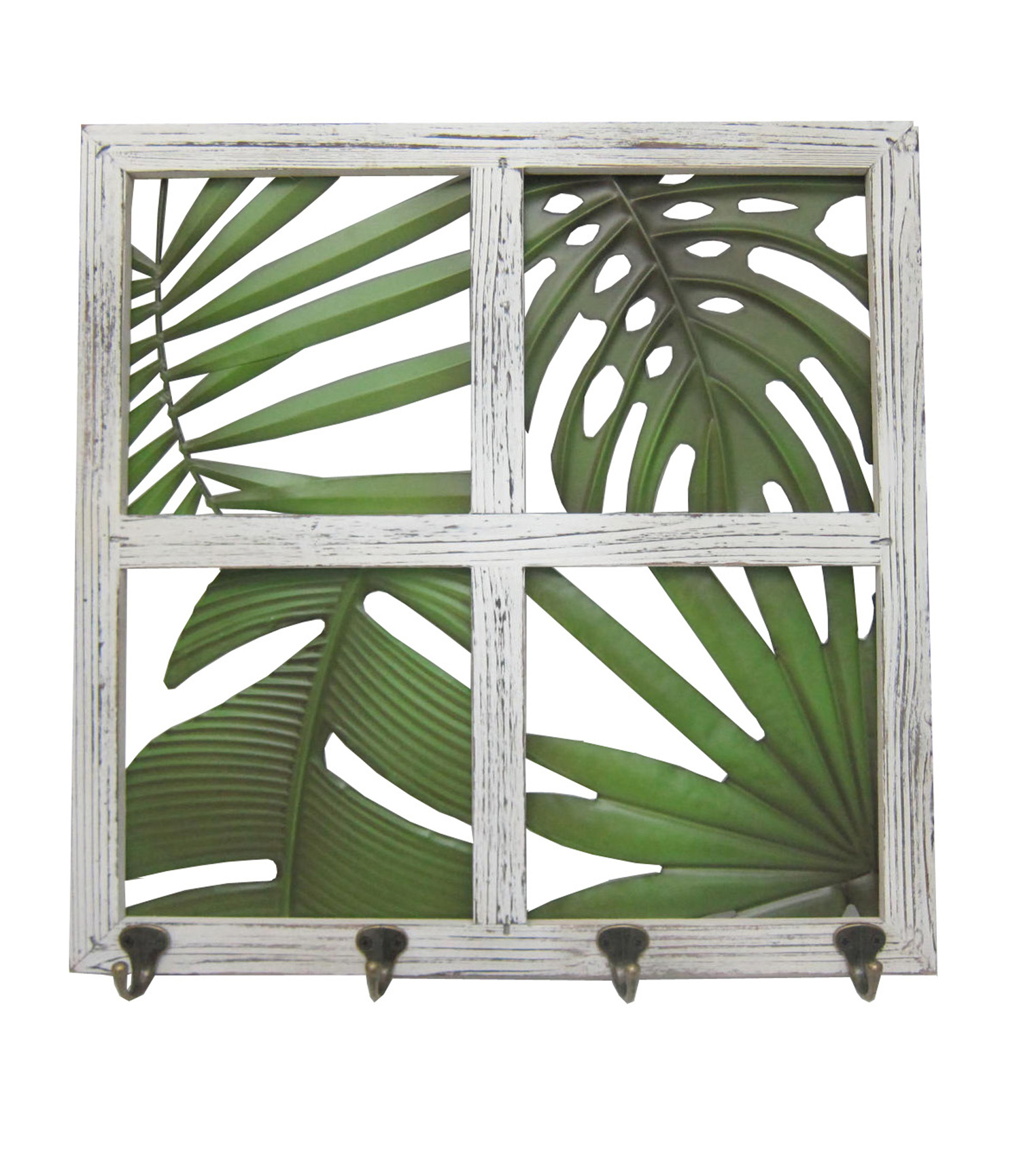 Summer Sol Wood Window Panel Wall Decor-White