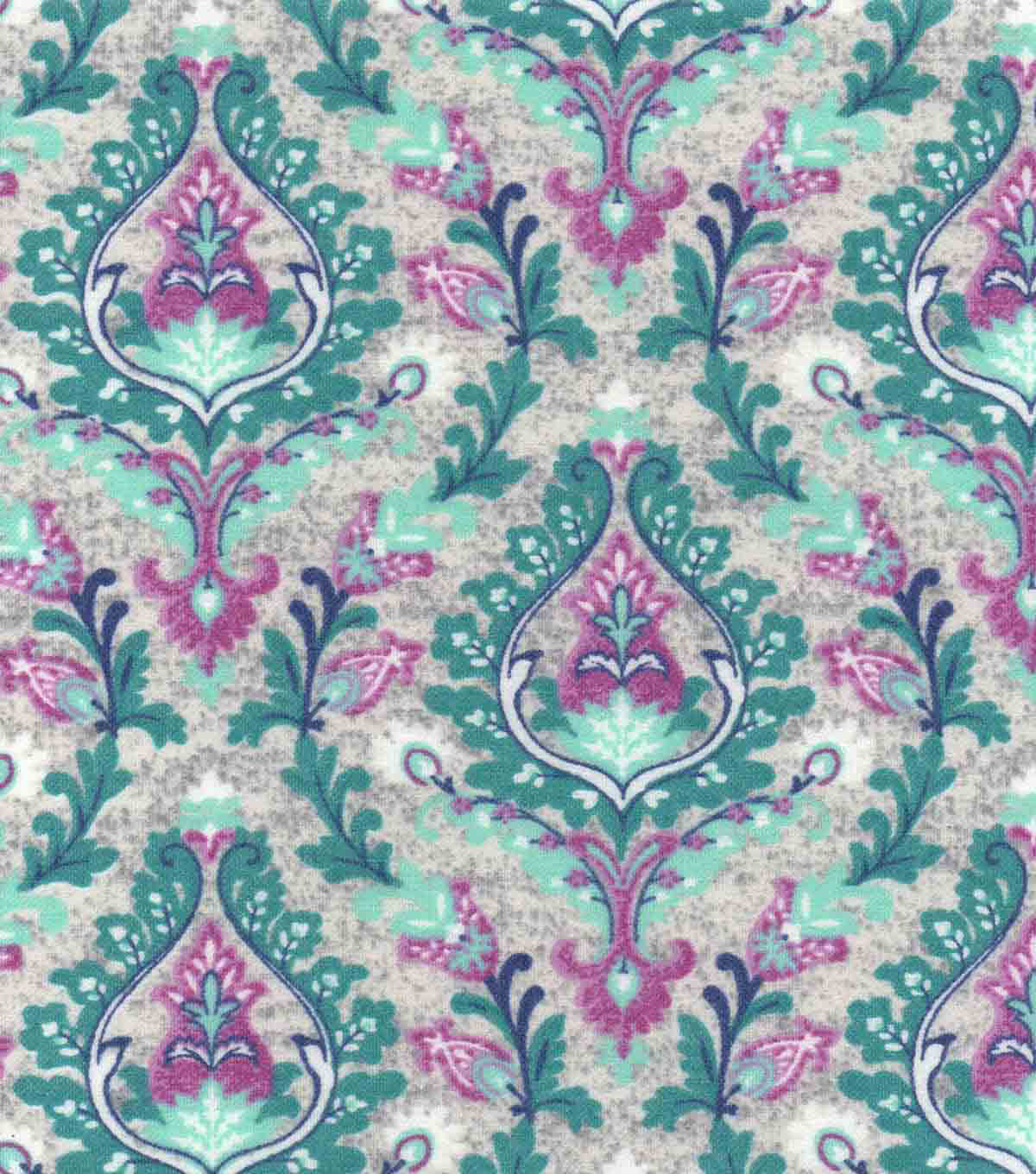 Luxe Flannel Fabric 42\u0022-Damask Gray Plum Heather